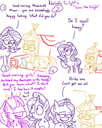 Size: 1280x1611 | Tagged: safe, artist:adorkabletwilightandfriends, moondancer, starlight glimmer, twilight sparkle, alicorn, pony, unicorn, comic:adorkable twilight and friends, adorkable, adorkable twilight, comic, couch, cute, dork, failure, food, funny, honey, humor, joke, lying down, nickname, nostril flare, nostrils, prank, prank fail, shampoo, shower, smelling, sniffing, sparkles, tablet, twilight sparkle (alicorn)