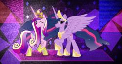 Size: 4096x2160   Tagged: safe, artist:ejlightning007arts, artist:jordila-forge, artist:laszlvfx, edit, princess cadance, twilight sparkle, alicorn, pony, the last problem, cutie mark, ethereal mane, high res, older, older cadance, older princess cadance, older twilight, one eye closed, princess twilight 2.0, raised hoof, starry mane, twilight sparkle (alicorn), wallpaper, wallpaper edit, wink