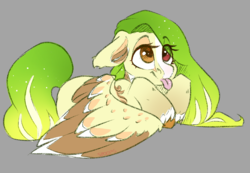 Size: 2168x1497 | Tagged: safe, artist:spoopygander, oc, oc:lemony light, pegasus, pony, :p, blaze (coat marking), coat markings, colored wings, cute, ear fluff, female, heterochromia, mare, markings, multicolored hair, multicolored wings, socks (coat marking), solo, tongue out, unshorn fetlocks, wings