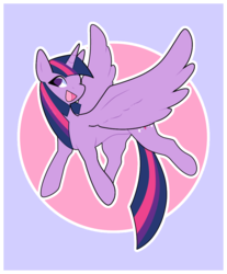 Size: 935x1130 | Tagged: abstract background, alicorn, artist:kaijuramune, circle background, cute, female, mare, no pupils, open mouth, pony, safe, solo, spread wings, twiabetes, twilight sparkle, twilight sparkle (alicorn), wings