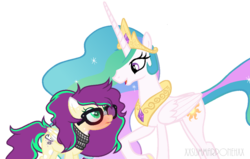 Size: 1024x651 | Tagged: safe, artist:yourrdazzle, princess celestia, oc, oc:serenity sound, pegasus, pony, blushing, glasses, simple background, transparent background
