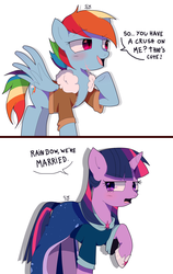 Size: 1702x2701 | Tagged: alicorn, artist:stuwor-art, blushing, bomber jacket, clothes, dialogue, female, gay marriage, hoof shoes, jacket, lesbian, mare, one hoof raised, pegasus, pony, rainbow dash, robe, safe, shipping, shirt, twidash, twilight sparkle, twilight sparkle (alicorn)