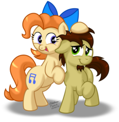 Size: 883x904 | Tagged: artist:aleximusprime, bow, buddies, couple, cute, duo, earth pony, facial hair, female and male, friends, goatee, male and female, noogie, oc, oc:ink jet, oc october, oc:twinkle toes, pair, safe