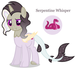 Size: 1848x1680 | Tagged: alicorn, alternate universe, artist:razorbladetheunicron, base used, bat wings, cutie mark, draconequus hybrid, gradient mane, hybrid, interspecies offspring, lateverse, next generation, oc, oc only, oc:princess serpentine whisper, offspring, parent:discord, parent:princess celestia, parents:dislestia, pony, safe, shark tail, simple background, solo, sparkly mane, transparent background, unshorn fetlocks, wings