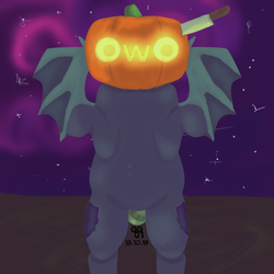 Size: 1500x1500 | Tagged: artist:ghostygirl01, artist:ghostygirl02, background, bat pony, bat pony oc, bipedal, both cutie marks, clothes, costume, detailed, female, halloween, holiday, jack-o-lantern, knife, mare, night, nightmare night costume, oc, oc:dusky dahlia, oc only, owo, pony, pumpkin, safe, solo