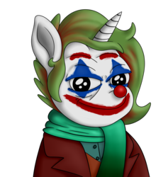 Size: 3600x3795 | Tagged: safe, artist:xchan, oc, oc only, oc:cotton coax, pony, unicorn, absurd resolution, clothes, clown, clown nose, face paint, joker (2019), meme, ponified, scarf, simple background, solo, suit, the joker, transparent background
