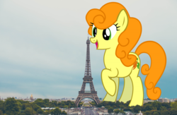 Size: 1280x834 | Tagged: carrot top, eiffel tower, female, france, giantess, giant pony, golden harvest, highrise ponies, irl, macro, photo, ponies in real life, pony, safe