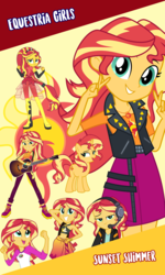 Size: 960x1600 | Tagged: bikini, clothes, cutie mark, edit, equestria girls, female, females only, guitar, headphones, mare, musical instrument, open mouth, pants, ponied up, ponified, pony, safe, shoes, shorts, skirt, sunset shimmer, swimsuit, unicorn, vector, wallpaper, wallpaper edit