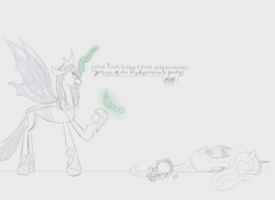 Size: 5500x4000 | Tagged: safe, artist:evan555alpha, derpibooru exclusive, cozy glow, princess celestia, queen chrysalis, alicorn, changeling, changeling queen, pony, the ending of the end, spoiler:s09e24, spoiler:s09e25, armor, backstab, bad end, betrayal, defeated, dialogue, female, happy birthday mlp:fim, jewelry, laying on side, levitation, magic, mlp fim's ninth anniversary, monochrome, on back, partial color, raised hoof, telekinesis, text, tiara, trio, ultimate chrysalis