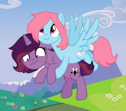 Size: 2369x2089 | Tagged: safe, artist:sandwichbuns, oc, oc:black magic, oc:gale wings, pegasus, pony, unicorn, base used, female, flying, holding a pony, magical lesbian spawn, mare, offspring, parent:fluttershy, parent:rainbow dash, parent:tempest shadow, parent:twilight sparkle, parents:flutterdash, parents:tempestlight