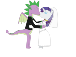 Size: 1600x1200 | Tagged: artist:nittany discord, bowtie, clothes, derpibooru exclusive, dragon, dress, eyes closed, eyeshadow, female, fire ruby, gem, happy birthday mlp:fim, kissing, makeup, male, mlp fim's ninth anniversary, older, older spike, pony, rarity, ruby, safe, shipping, shoes, sparity, spike, standing on hindlegs, straight, tuxedo, unicorn, veil, wedding dress