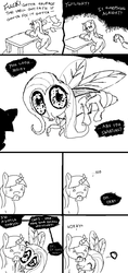 Size: 800x1692 | Tagged: artist:pumpkinetics, black and white, comic, creepy, cute, dialogue, flutterfly, fly, grayscale, insect, magical mishap, monochrome, safe, shutterfly, species swap, sweat, twilight sparkle, unicorn, unicorn twilight, what has magic done