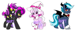 Size: 2250x900 | Tagged: adoptable, advertisement, artist:paperbagpony, auction, cerberus, collaboration, hat, incubus, monster pony, multiple heads, oc, safe, simple background, three heads, white background, witch, witch hat