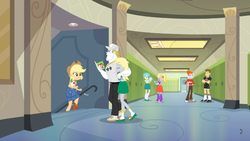 Size: 1280x720 | Tagged: safe, screencap, applejack, bulk biceps, cloudy kicks, derpy hooves, heath burns, teddy t. touchdown, tennis match, equestria girls, equestria girls series, holidays unwrapped, spoiler:eqg series (season 2), food, muffin, shipping fuel