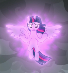 Size: 791x848 | Tagged: alicorn, cropped, floating, magic, magic aura, magic of friendship, safe, screencap, smiling, solo, spoiler:s09e24, spoiler:s09e25, spread hooves, spread wings, the ending of the end, twilight sparkle, twilight sparkle (alicorn), windswept mane, wings