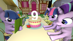 Size: 3840x2160 | Tagged: 3d, alicorn, anniversary, artist:mendrick94, baby cakes, birthday, book, cake, cake twins, daring do, food, friendship is magic, happy birthday mlp:fim, mlp fim's ninth anniversary, my little pony, nine years, party, pegasus, pony, ponyville, pound cake, pumpkin cake, safe, self ponidox, siblings, source filmmaker, starlight glimmer, time paradox, twilight sparkle, twilight sparkle (alicorn), twins, unicorn, unicorn twilight