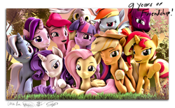 Size: 4140x2560 | Tagged: safe, artist:alicorntwilysparkle, artist:calveen, artist:whiteskyline, applejack, derpy hooves, ditzy doo, fluttershy, pinkie pie, rainbow dash, rarity, starlight glimmer, sunset shimmer, tempest shadow, trixie, twilight sparkle, alicorn, earth pony, pegasus, pony, unicorn, 3d, absurd resolution, applejack's hat, border, cowboy hat, eye scar, female, forest, grass, grin, group photo, group shot, hat, horn, looking at you, lying down, mane six, mare, missing accessory, nose wrinkle, one eye closed, outdoors, raised hoof, revamped ponies, scar, signature, smiling, smirk, source filmmaker, sunset, text, tree, twilight sparkle (alicorn), upside down, wall of tags, wings, wink, writing
