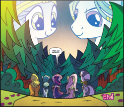 Size: 1053x905 | Tagged: safe, artist:agnesgarbowska, idw, aqua vine, cattail, fluttershy, meadowbrook, ms. vine, twilight sparkle, zecora, alicorn, earth pony, pegasus, pony, zebra, spoiler:comic, spoiler:comic58, end, female, forest, male, mare, stallion, twilight sparkle (alicorn)