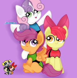 Size: 884x903 | Tagged: apple bloom, artist:joceblue, blossom (powerpuff girls), bubbles (powerpuff girls), buttercup (powerpuff girls), clothes, cutie mark crusaders, earth pony, female, filly, pegasus, pony, purple background, safe, scootaloo, simple background, sweetie belle, the powerpuff girls, unicorn