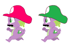 Size: 1704x1016 | Tagged: dragon, hat, mario twins, running, safe, solo, spike, super mario