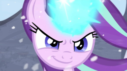 Size: 1271x715 | Tagged: badass, female, fight, magic, pony, safe, screencap, smiling, solo, spoiler:s09e24, spoiler:s09e25, starlight glimmer, the ending of the end