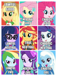 Size: 902x1190 | Tagged: alignment chart, applejack, equestria girls, equestria girls series, fluttershy, humane five, humane seven, humane six, pinkie pie, rainbow dash, rarity, safe, sci-twi, starlight glimmer, sunset shimmer, trixie, twilight sparkle