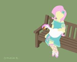 Size: 994x804 | Tagged: safe, artist:5mmumm5, fluttershy, pinkie pie, bird, goose, equestria girls, equestria girls series, bench, female, simple background, sitting, species swap, untitled goose game