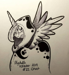 Size: 552x600 | Tagged: alicorn, artist:mychelle, cloak, clothes, female, inktober, inktober 2019, mare, monochrome, pony, princess luna, safe, solo, spirit of hearth's warming yet to come, traditional art