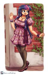 Size: 1350x2105 | Tagged: artist:king-kakapo, clothes, digital art, dress, female, human, humanized, safe, smiling, solo, twilight sparkle