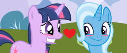 Size: 1834x768 | Tagged: artist:themexicanpunisher, female, lesbian, safe, shipping, trixie, twilight sparkle, twixie
