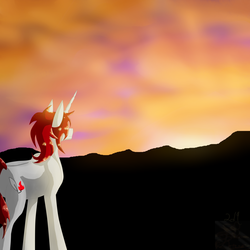 Size: 5800x5800 | Tagged: absurd resolution, and now for something completely different, artist:florarena-kitasatina/dragonborne fox, cel shading, cloud, oc, oc:crimson flame, oc only, safe, scenery, shading, signature, sunset, unicorn, watermark