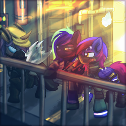 Size: 4000x4000 | Tagged: safe, artist:amura-of-jupiter, oc, oc:amethyst moonlight, oc:mewu, oc:moonstone mark, changeling, pegasus, pony, zebra, boots, buttons, clothes, cosplay, costume, darth vader, dressup, fence, fire hydrant, focal blur, gas mask, glow, goggles, gun, horn, indoors, laser rifle, mask, outfit, shoes, spread wings, star wars, steam, stripes, timesplitters, trio, weapon, wings