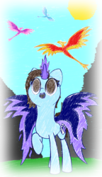 Size: 1719x2981 | Tagged: artist:ceemakesstuff, happy, memories, no pupils, oc, oc:cee, phoenix, phoenix pony, pony, safe, solo, unicorn