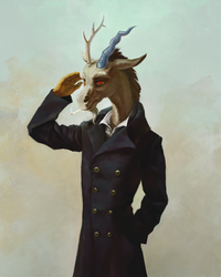 Size: 1440x1800 | Tagged: anthro, artist:bra1neater, cigarette, clothes, coat, discord, draconequus, male, meme, press f to pay respects, raised arm, safe, salute, smoking, solo
