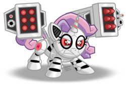 Size: 1079x741 | Tagged: angry, artificial intelligence, artist:aleximusprime, colored sclera, cute, diasweetes, female, filly, frown, glare, glow, glowing eyes, gritted teeth, missile, missile launcher, oc october, pony, red eyes, robot, robot pony, safe, solo, sweetie belle, sweetie bot, this will end in explosions, unicorn, weapon, weaponized cuteness, weapons-grade cute