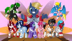 Size: 1920x1080   Tagged: safe, artist:unisoleil, oc, oc only, oc:aliax smily, oc:chip megabyte, oc:mirror image, oc:mistress ecstacy, oc:moonsaber, oc:pyrelight, oc:ruby sparkler, oc:serena, oc:swift, bat pony, pegasus, pony, robot, robot pony, unicorn, clothes, crossdressing, female, male, outfit, pretty cure