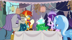 Size: 1920x1080 | Tagged: cake, food, maud pie, mudbriar, safe, screencap, spoiler:s09e11, starlight glimmer, student counsel, sunburst, trixie