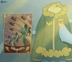 Size: 2300x2000   Tagged: safe, artist:fluffyxai, rainbow dash, sunbeam, pegasus, pony, clothes, happy birthday mlp:fim, jacket, mlp fim's ninth anniversary, poster, uniform, wonderbolts, wonderbolts uniform