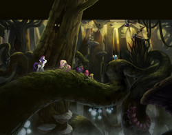 Size: 1920x1507 | Tagged: safe, artist:luke buxton, artist:tony cliff, applejack, fluttershy, pinkie pie, rainbow dash, rarity, twilight sparkle, centipede, dragonfly, giant centipede, giant spider, insect, pony, spider, my little pony: the movie, the art of my little pony: the movie, bioluminescent, concept art, eyes in the dark, forest, fungus, giant insect, giant mushroom, jungle, mane six, mushroom, scenery, scenery porn, slug troll swamp, tree, vine