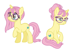 Size: 1380x999 | Tagged: alternate cutie mark, alternate hairstyle, alternate universe, artist:flipwix, bun, female, fluttershy, frown, glasses, hair bun, mare, pony, race swap, raised hoof, role reversal, safe, simple background, sitting, smiling, transparent background, unicorn, unicorn fluttershy