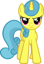 Size: 704x1024 | Tagged: safe, artist:likonan, edit, vector edit, lemon hearts, pony, serious, serious face, simple background, solo, transparent background, vector