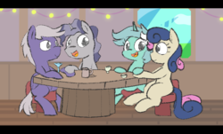 Size: 806x487 | Tagged: artist:davierocket, bon bon, chair, cocktail, cocktail glass, cup, double date, earth pony, female, gay, hoof hold, lesbian, looking at each other, lyrabon, lyra heartstrings, male, mare, missing cutie mark, mug, pegasus, pony, safe, shipping, silver script, sitting, stallion, star bright, starscript, sweetie drops, table, teacup, unicorn