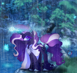 Size: 1900x1800 | Tagged: safe, artist:unoriginai, nightmare rarity, rarity, tantabus, oc, butterfly, diamond dog, timber wolf, alternate universe, fusion, glowing horn, horn, looking at you, night, rain, solo, story included