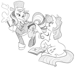Size: 868x788 | Tagged: alternate universe, artist:egophiliac, book, clothes, duo, female, grayscale, hat, magic wand, mare, monochrome, pencil drawing, pony, rarity, safe, sketch, suit, top hat, traditional art, twilight sparkle, unicorn, unicorn twilight