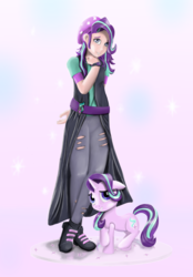 Size: 1200x1729 | Tagged: artist:chopsticks, boots, clothes, cute, equestria girls, female, figure, floppy ears, glimmerbetes, hat, human, human coloration, human ponidox, kotobukiya, looking at you, mare, pony, safe, self ponidox, shoes, smiling, starlight glimmer, style emulation, watch, wristwatch