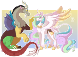 Size: 3412x2483 | Tagged: safe, artist:kittyisawolf, discord, princess celestia, alicorn, classical unicorn, draconequus, cloven hooves, colored wings, curved horn, dislestia, female, gradient background, gradient wings, horn, horn ring, jewelry, leonine tail, male, mare, necklace, ring, saddle, shipping, simple background, story included, straight, tack, transparent background, unshorn fetlocks, wings