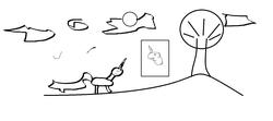 Size: 1360x605   Tagged: safe, pony, unicorn, apple tree, book of harmony, cloud, happy birthday mlp:fim, mlp fim's ninth anniversary, sun