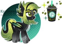 Size: 1024x735 | Tagged: artist:kazziepones, bat pony, female, mare, oc, oc:phantom frapuccino, pony, reference sheet, safe, solo