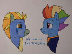 Size: 4608x3456 | Tagged: alternate ending, artist:awgear, badge, clothes, crying, happy ending, lightning dust, mlp fim's ninth anniversary, older, older lightning dust, older rainbow dash, rainbow dash, safe, spoiler:s09e26, tears of joy, the last problem, traditional art, uniform, wonderbolts uniform