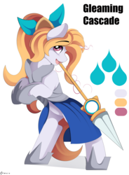 Size: 2773x3764 | Tagged: safe, artist:conrie, pony, unicorn, commission, dragalia lost, elisanne, female, lance, mare, ponified, solo, weapon